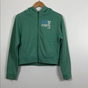 AEO Cropped Zip Up Hoodie Size Small Green